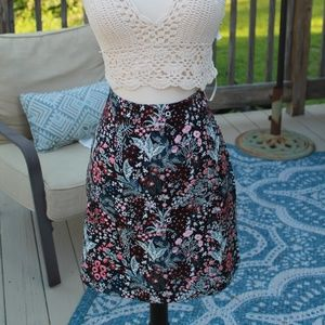 Beautiful Embroidered Floral Mini Skirt